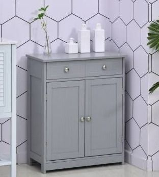 kleankin Freestanding Bathroom Storage Cabinet Organizer Floor Tower with 2 Door  2 Drawers  Adjustable Shelf  Grey  Retail 122 49