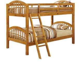 INCOMPlETE Arched Twin Honey Oak Finish Bunk Bed  Retail 364 49