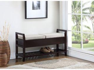 Roundhill Furniture Vannes Espresso Storage Shoe Bench