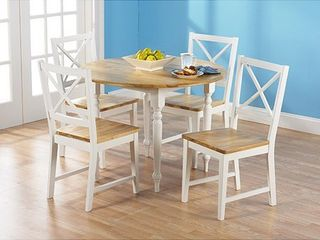 Virginia Crossback Dining Chairs set of 2 White and Natural