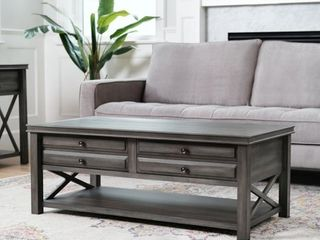 Abbyson Felicity Grey 2 Drawer Rectangle Coffee Table  Retail 439 99