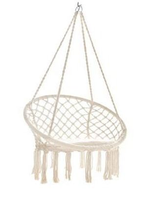 Single Cotton Macrame Swing Chair with Fringe  Retail 84 99