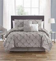 Smocked Circle Gray Embellished 7 Piece Comforter Set   King