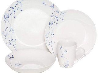 Melange Coupe 16 Piece Porcelain Dinner Set  Indigo Garden  Service for 4 Microwave  Dishwasher   Oven Safe Dinner Plate  Salad Plate  Soup Bowl   Mug  4 Each