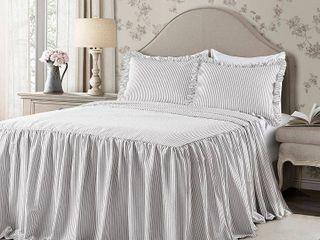 Queen 3pc Ticking Stripe Bedspread Set Gray   lush Decor   Queen