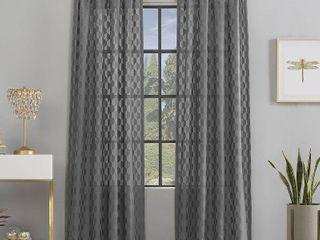 Set of 2 Scott living Verge Geometric Clipped Jacquard Semi Sheer Rod Pocket Curtain Panel