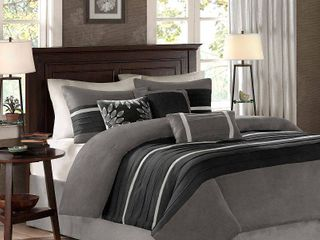 Madison Park Porter Black  Grey Comforter Set  Retail 139 97