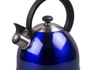 Creative Home Prelude 2 1 Qt  Whistling Stainless Steel Metallic Blue Tea Kettle
