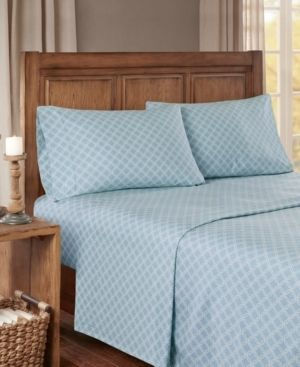 Full Flannel Sheet Set Blue Geo   Full