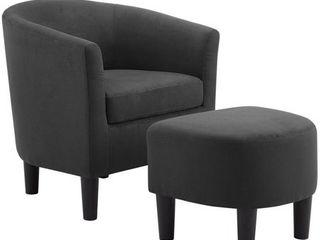 Camilla Fabric Barrel Chair with Ottoman Set  Retail 156 99
