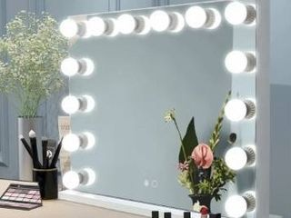 Superbrite Hollywood lighted Mirror With 14 Dimmable led Bulbs  Tabletop Mirror Or Wall Mounted  Smart Touch Control  Retail 261 99