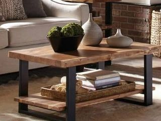 Alpine 42  Natural live Edge Acacia Solid Wood Coffee Table  Retail 405 49