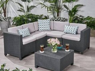 Waverly Outdoor 5 seater Sectional Set with Cushions by Christopher Knight Home   Retail 879 00