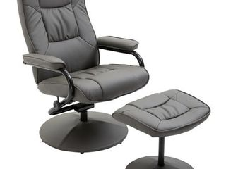 HOMCOM Adjustable leisure Recliner Chair and Ottoman Set with Swiveling Base  Faux leather  Grey  Retail 194 49