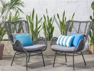 Montana Wicker Club Chairs  Set of 2  by Christopher Knight Home  Retail 376 41