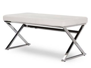 Benoit Contemporary White PU leather Upholstered Bench with Stainless Steel legs  Retail 154 99