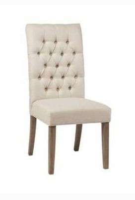 The Gray Barn Ivy Cottage Oatmeal Tufted Back Parson Chairs  Set of 2  Retail 256 49