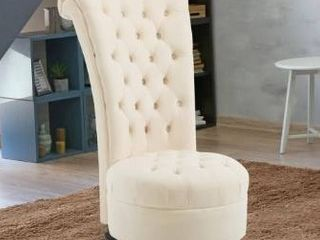 HomCom 45  Tufted High Back Flannelette Accent Chair   Retail 295 49