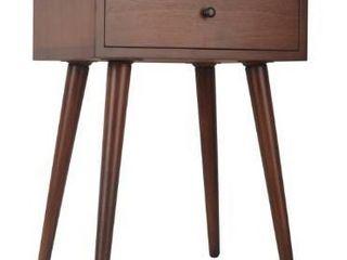 Mid Century Single Drawer Wood Side Table   Wood Finish Walnut Finish   Walnut