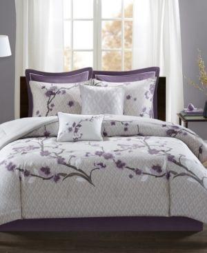 Purple Sakura Cotton Comforter Set  California King  8pc