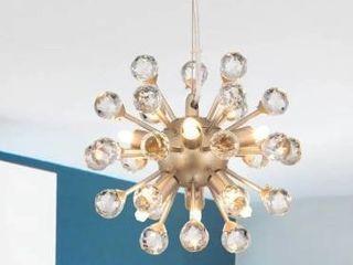 Clara Modern Brushed Champagne Sputnik Clear Crystal Balls Chandelier  Retail 84 49