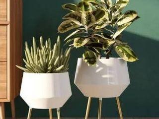 Huxley Mid Century Modern Planters   White  Set of 2  Retail 105 49