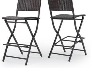 Margarita Outdoor Wicker Barstool  Set of 2  by Christopher Knight Home  Retail 163 99