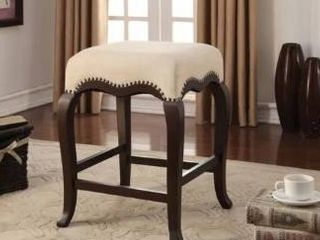 Gracewood Hollow linden Cream Fabric Counter height Stool with Espresso finished Wood legs  Retail 122 99