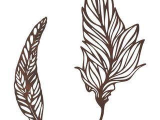 Wall Decor Set of 2 Metal Feather Hanging Contemporary Wall Art for living Room  Bedroom  Kitchen by lavish Home  Brown