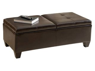 Storage Tufted   Solid   Standard Ottoman Storage Ottoman   Upholstered leather   Assembled   Brown   Modern   Contemporary   Oversized   Rectangle  Retail 332 99