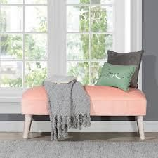 Hillsdale Furniture Mila Backless Upholstered Bench 48 W x 16 D x 18 H  Retail 214 99 pink velvet with distressed white legs