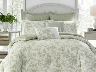 laura Ashley Natalie Green Floral Comforter Bonus Set  Retail 148 62 king