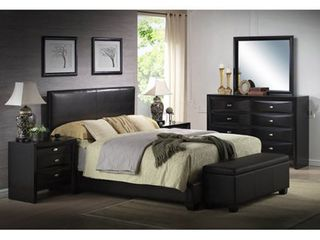 Ireland Queen Faux leather black headboard only