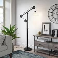 Carbon loft Tirith Floor lamp in Blackened Bronze Finish with Pulley System and Ribbed Glass Shade  Retail 179 99