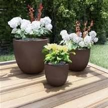 Round Fiber Clay Planters by Pure Garden  Set of 3  Retail 125 99 antique brown