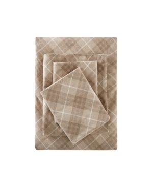 Flannel Print Cotton Sheet Set  California King  Tan Plaid