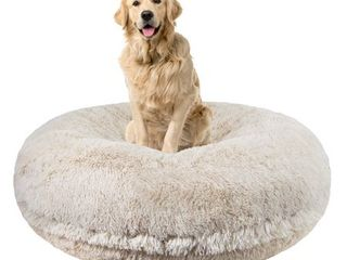 Bessie and Barnie Signature Blondie luxury Shag Extra Plush Faux Fur Bagel Pet  Dog Bed  Retail 154 49 light grey