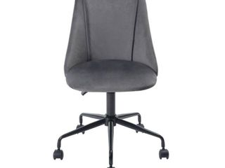 FurnitureR Velvet Fit up Office Chair  Cian Grey 1PC