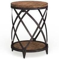 Carbon loft Fischer Solid Birch  Iron Round End Table  Retail 166 49 Steve silver co