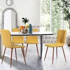 Carson Carrington lafsviken Mid Century Modern Dining Chairs  Set of 4  Retail 219 99 yellow