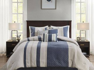 Madison Park Kinsley 7 Piece Faux Suede Comforter Set  Retail 127 49 king