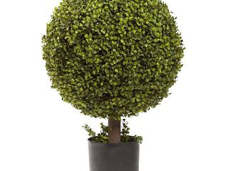 Nearly Natural 27 inch Boxwood Ball Topiary Decorative Plant  Retail 154 99