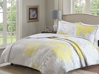 Comfort Spaces Enya 3 Piece Reversible Coverlet Set  Full Queen  Yellow
