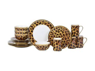 Serengeti leopard with Electropated Gold 16 Piece Dinnerware Set  Retail 108 99