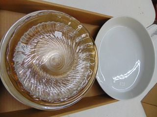 Pyrex pie plates   assorted decor plates and 8  oval casserole