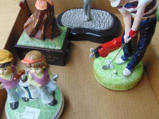 3 Golf Figurines and music box