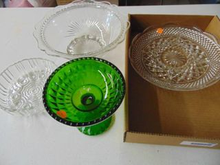 Green Candy Dish and assorted glassware