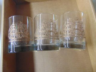 4   Norman Rockwell Colector Plates and 3 ship glasses