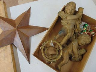 2 Chalkware Angels and Metal Star