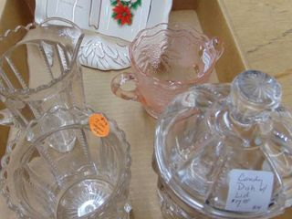 Pink Depression Bowl   Clear Candy holder and more